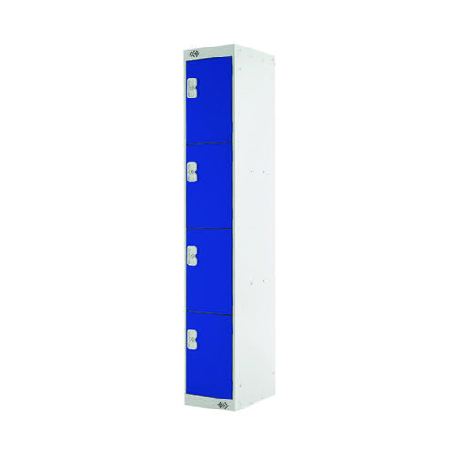 Four Compartment Locker 300x450x1800mm Blue Door MC00055