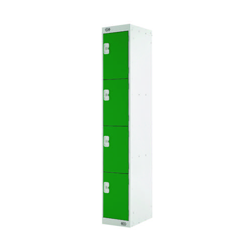 Four Compartment Locker D450mm Green Door (Dimensions: H1800 x W300 x D450mm) MC00058