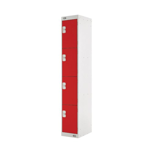 Four Compartment Locker D450mm Red Door MC00059