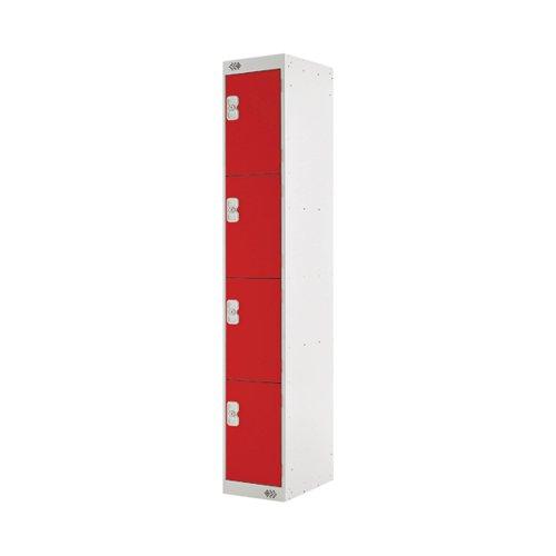 Four Compartment Locker 300x450x1800mm Red Door MC00059