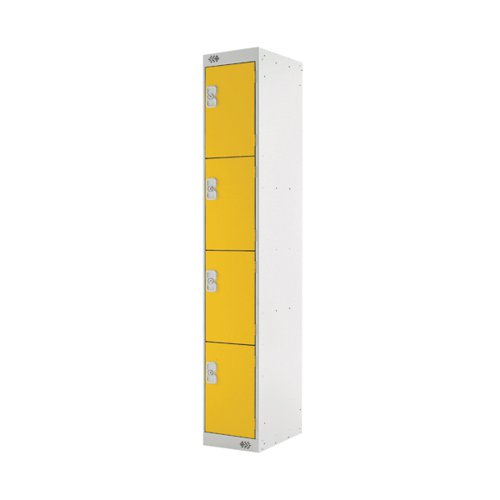 Four Compartment Locker D450mm Yellow Door MC00060