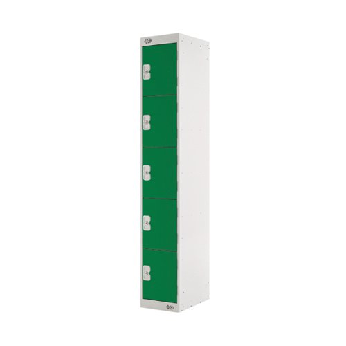 Five Compartment Locker D450mm Green Door (Dimensions: H1800 x W300 x D450mm) MC00064