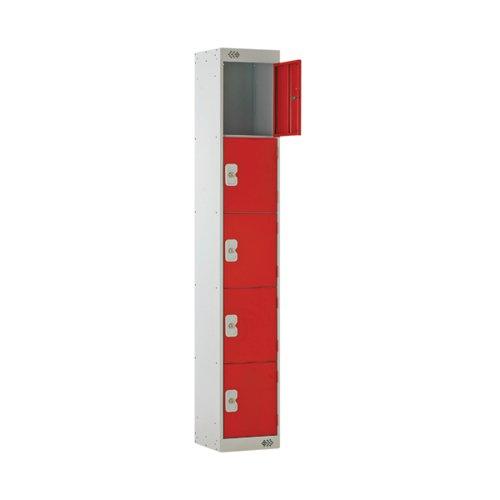 Five Compartment Locker 300x450x1800mm Red Door MC00065
