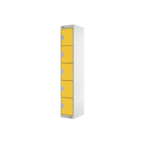 Five Compartment Locker D450mm Yellow Door MC00066