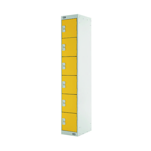 Six Compartment Locker D450mm Yellow Door (Dimensions: H1800 x W300 x D450mm) MC00072
