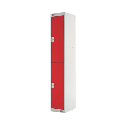 Express Standard Locker Two Compartments Red 300mm Deep MC00141