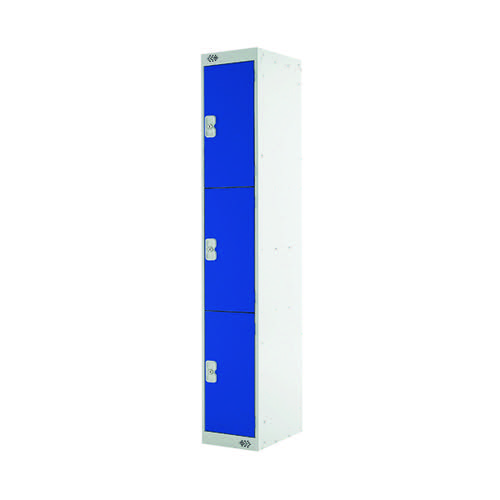 Express Standard Locker 3 Door W300xD300xH1800mm Light Grey/Blue MC00142