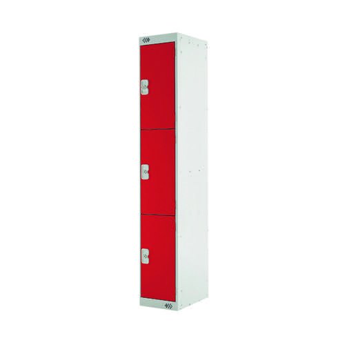 Three Compartment Express Standard Locker D300mm Red Door MC00144