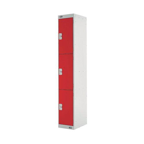 Three Compartment Express Standard Locker 300x300x1800mm Red Door MC00144