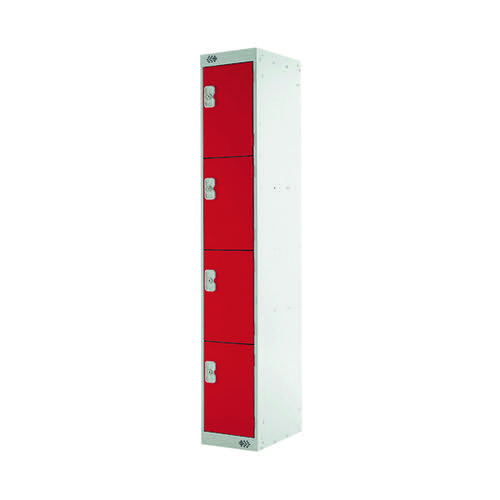 Four Compartment Express Standard Locker D300mm Red Door MC00147