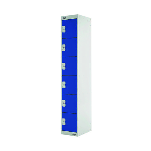 Six Compartment Express Standard Locker D300mm Blue Door MC00148