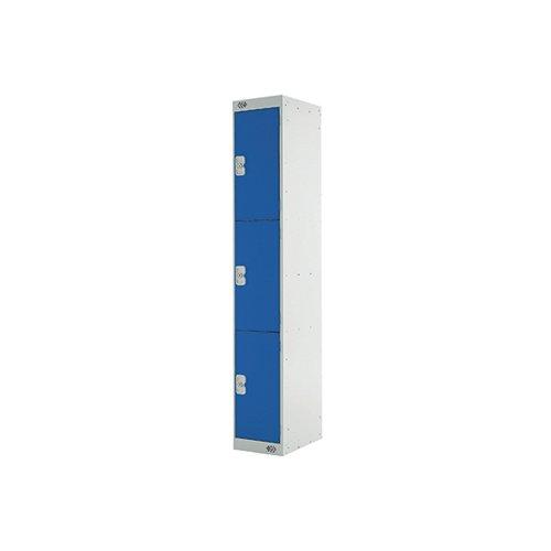 Three Compartment Express Standard Locker 300x450x1800mm Blue Door MC00157