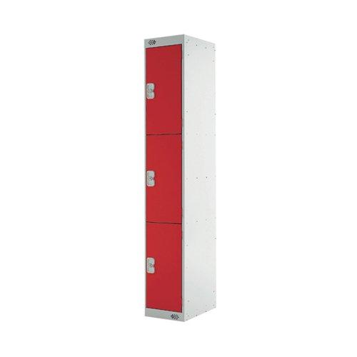 Three Compartment Express Standard Locker 300x450x1800mm Red Door MC00159