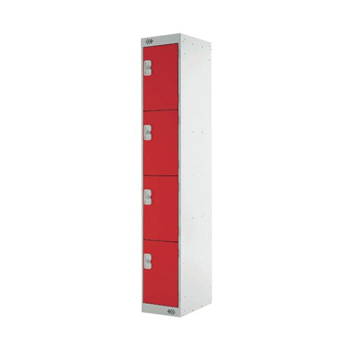 Four Compartment Express Standard Locker D450mm Red Door MC00162