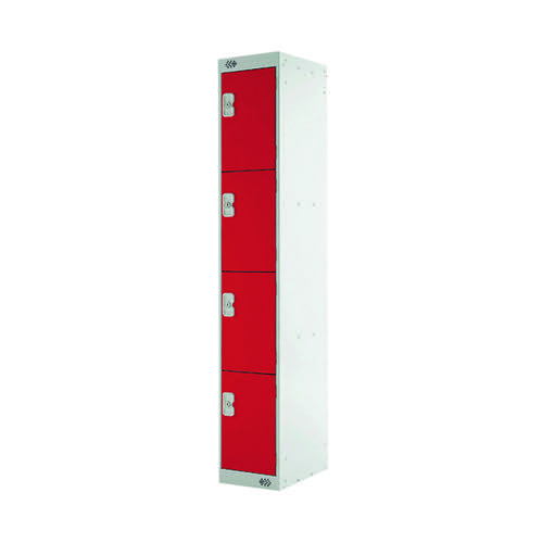 Four Compartment Express Standard Locker 300x450x1800mm Red Door MC00162