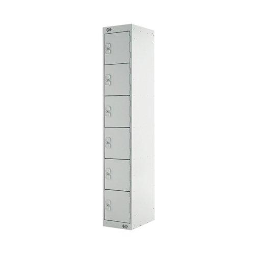 Six Compartment Express Standard Locker 300x450x1800mm Light Grey Door MC00164