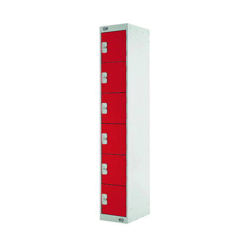 Six Compartment Express Standard Locker D450mm Red Door MC00165