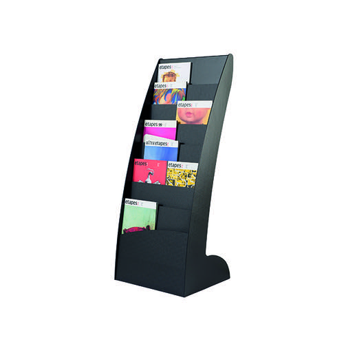 Fast Paper Black Curved Literature Display (Floor standing display with 8 compartments) 285.01