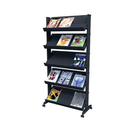 Fast Paper 5 Shelf Mobile Literature Display Wide Black F255N01