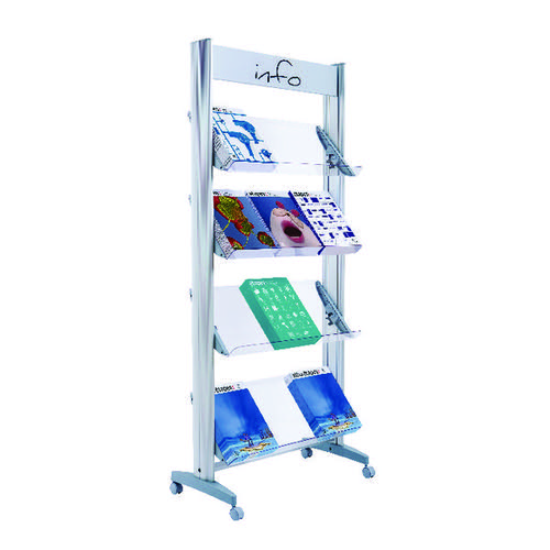 Fast Paper Aluminium Plexiglass Shelf Display 12 Documents 12A4TT.35