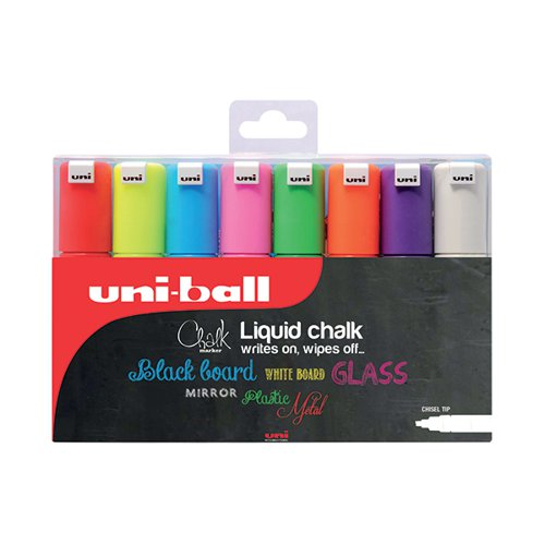 Uniball PWE-8K Chalk Marker Chisel Broad Assorted (Pack of 8) 153494343