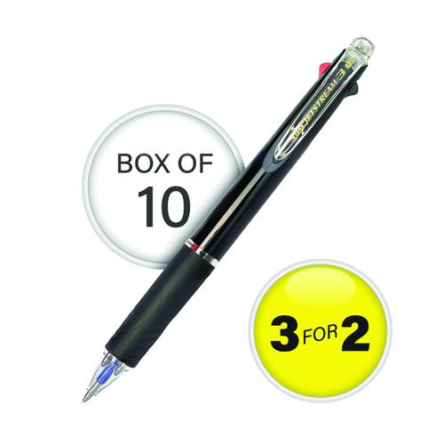 Uni-Ball Jetstream Black Barrel 3 Colour Pen Medium (Pack of 10) 3For2