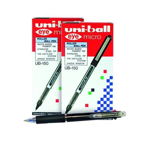Buy 2 Uni-Ball Eye Rollerball Pen Black (Pack of 12) Get a Free Jetstream 3 Colour Pen (Pack of 10)