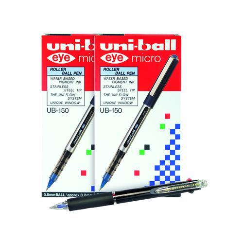 Buy 2 Uni-Ball Eye Rollerball Pen Blue (Pack of 12) Get a Free Jetstream 3 Colour Pen (Pack of 10)