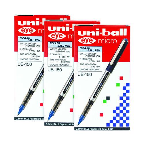 Uni-Ball UB150 Micro Eye Rollerball Pen 0.2mm Blue (Pack of 12) 3For2