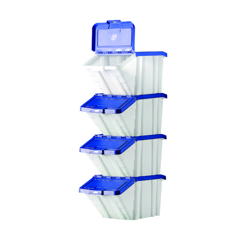 Barton Multifunctional Storage Bins Blue Lids (Pack of 4) 052101/4