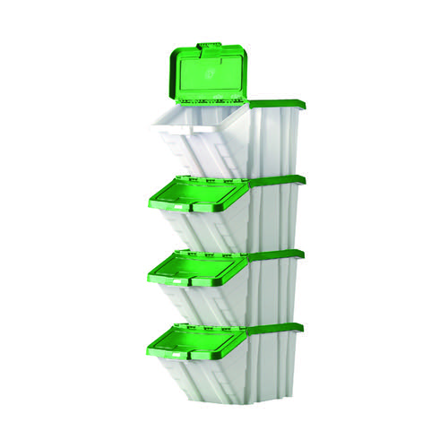 Barton Multifunctional Storage Bins Green Lids (Pack of 4) 052104/4