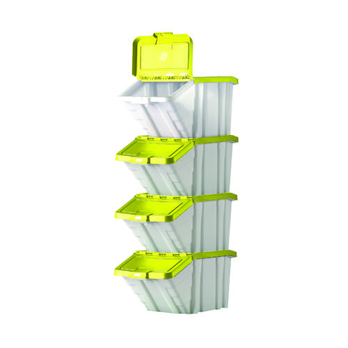 Barton Multifunctional Storage Bins Yellow Lids (Pack of 4) 052106/4