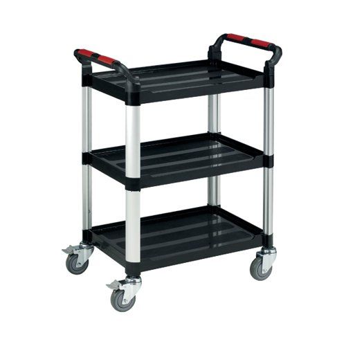 Barton Black and Silver 3 Shelf Standard Plastic Trolley White WHTT3SS