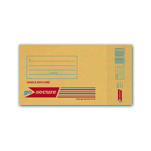 GoSecure Bubble Envelope Size 1 115x195mm Gold (Pack of 100) ML10038