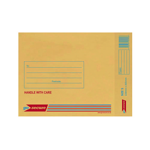 GoSecure Bubble Lined Envelope Size 5 205 x 260mm Gold (Pack of 100) ML10050 Padded Bags ML10050