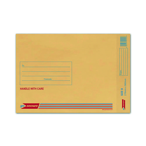 GoSecure Bubble Lined Envelope Size 8 260 x 345mm Gold (Pack of 50) ML10066