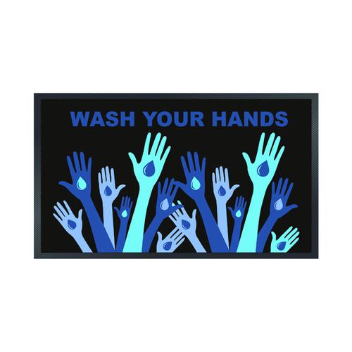 Wash Your Hands Mat 85 x 150cm Black 19258646