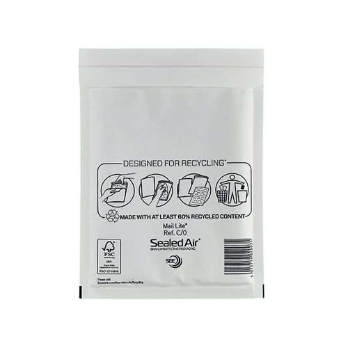 Mail Lite Bubble Lined Postal Bag Size C/0 150x210mm White (Pack of 100) MLW C/0 Padded Bags MQ02003