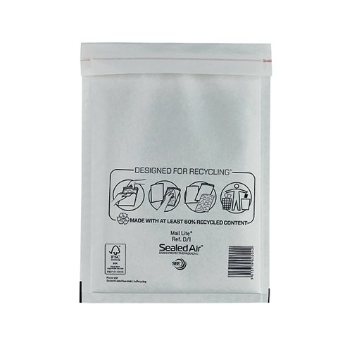 Mail Lite Bubble Lined Postal Bag Size D/1 180x260mm White (Pack of 100) MLW D/1