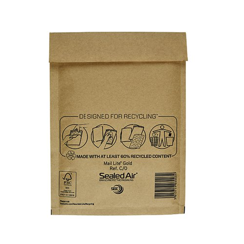 Mail Lite Bubble Lined Postal Bag Size C/0 150x210mm Gold (Pack of 100) MLGC/0