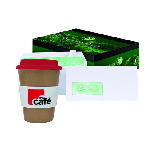 Basildon DL Window Envelopes White (Pack of 500) FOC MyCafe Bamboo Mug MYC100001
