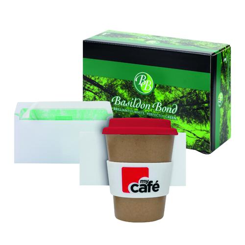 Basildon DL Envelopes White (Pack of 500) FOC MyCafe Bamboo Mug MYC100002