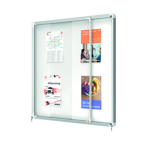 Nobo External Glazed Case Magnetic 12 x A4 White 1902581