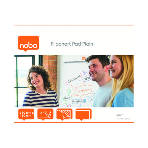 Nobo Plain Flipchart Pad 584x485mm 40 Sheet (Pack of 5) 34631170