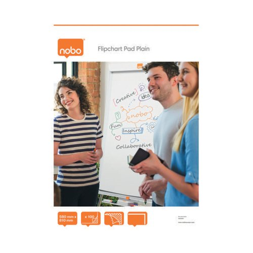 Nobo Plain Flipchart Pad A1 100 Sheet (Pack of 2) 34633681