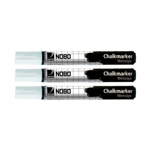 Nobo Chalk Marker White (Pack of 3) 34438398