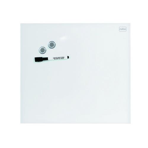 Nobo Small Magnetic Glass Whiteboard Tile 300x300mm White 1903956