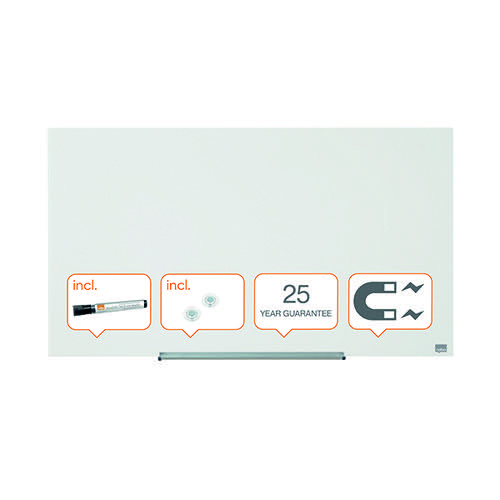 Nobo Diamond Magnetic Glass Board White 993x559mm 1905176