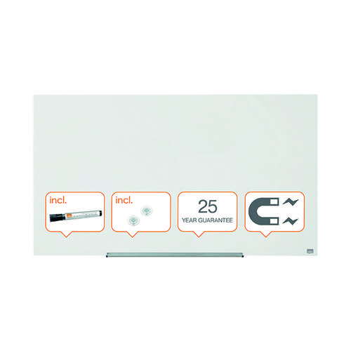 Nobo Diamond Magnetic Glass Board White 1260x711mm 1905177