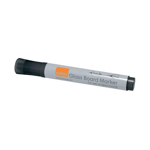 Nobo Glass Whiteboard Marker Black (Pack of 4) 1905322